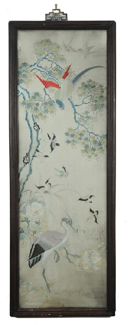 Chinese Silk Embroidery Panel w/ Birds, 19th C