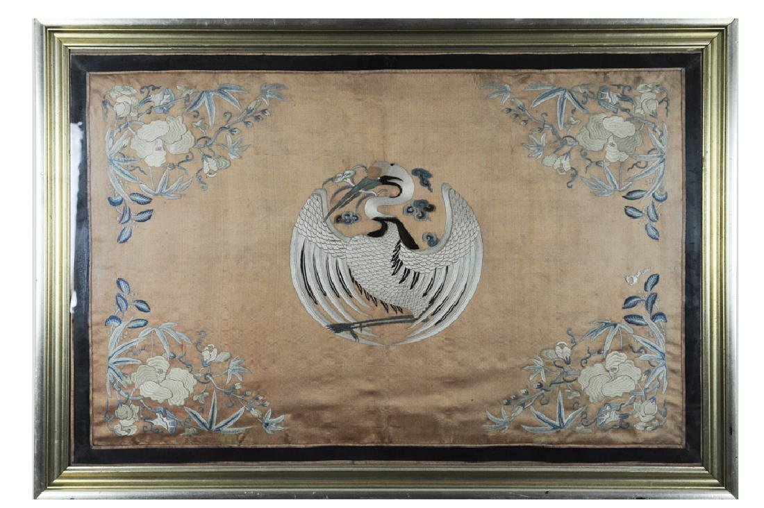 Chinese Silk Embroidery Panel w/ Crane, 18th C