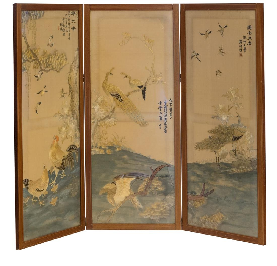 Set of 3 Cantonese Embroidered Silk Panels, 19th C
