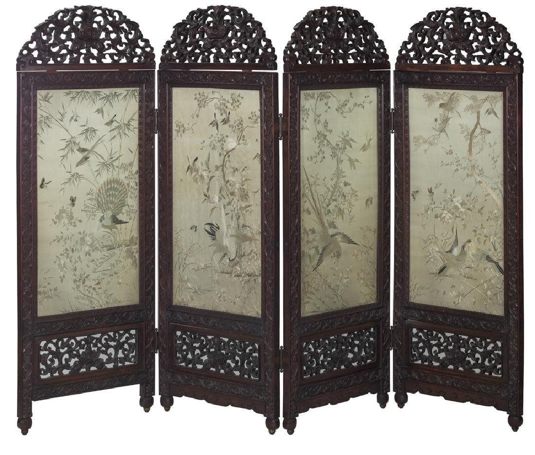 Set of 4 Panels of Cantonese Embroidery, 19th C