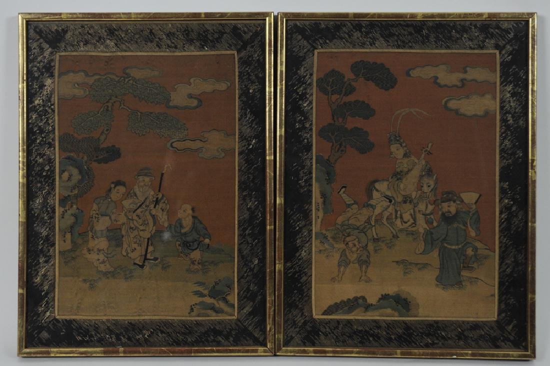 Pair of Chinese Kesi Panels w/ 8 Immortals, 19th C