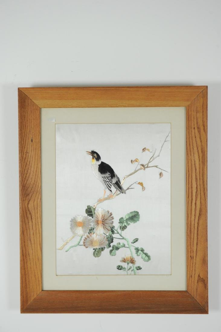 Chinese Xiang Needlework of a Bird & Flowers