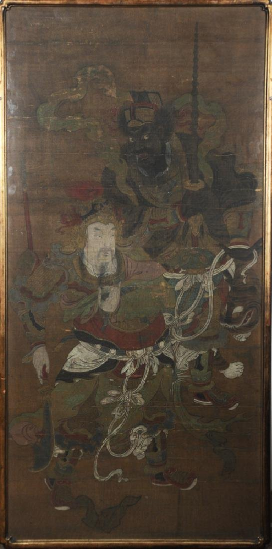 Chinese Painting of 2 Daoist Guardians, 15-16th C.