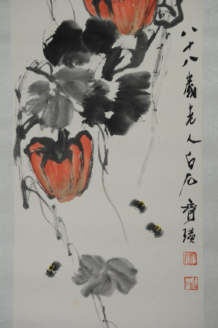 Painting of Pumpkin & Bees attributed to Qi Baishi