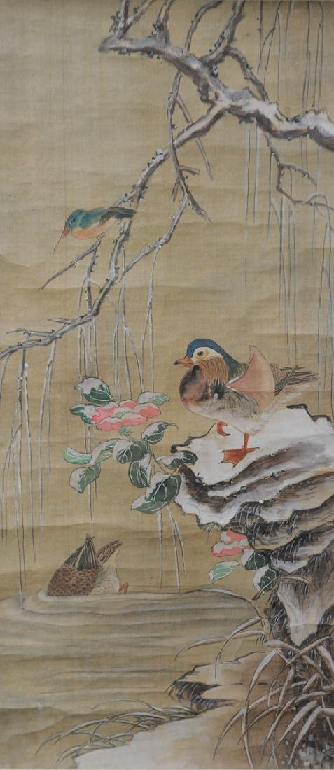 Old Chinese Painting of Mandarin Ducks in the Snow