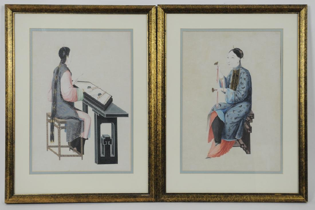 Pair of Rice Paper Paintings, 19th Century
