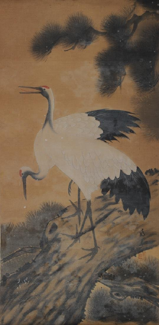 Painting of a Pine Tree and Crane, Unsigned