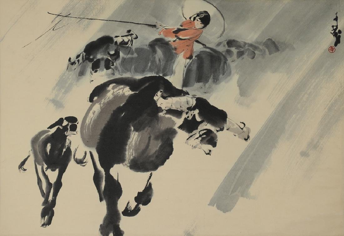 Painting of Boy & Cow, Li Qi-Mao (1925-)