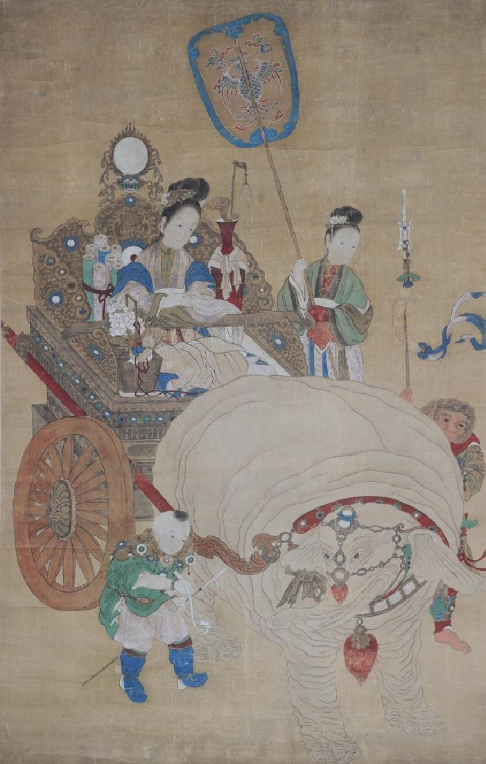 Painting on Silk of Ladies, Child, and Elephant