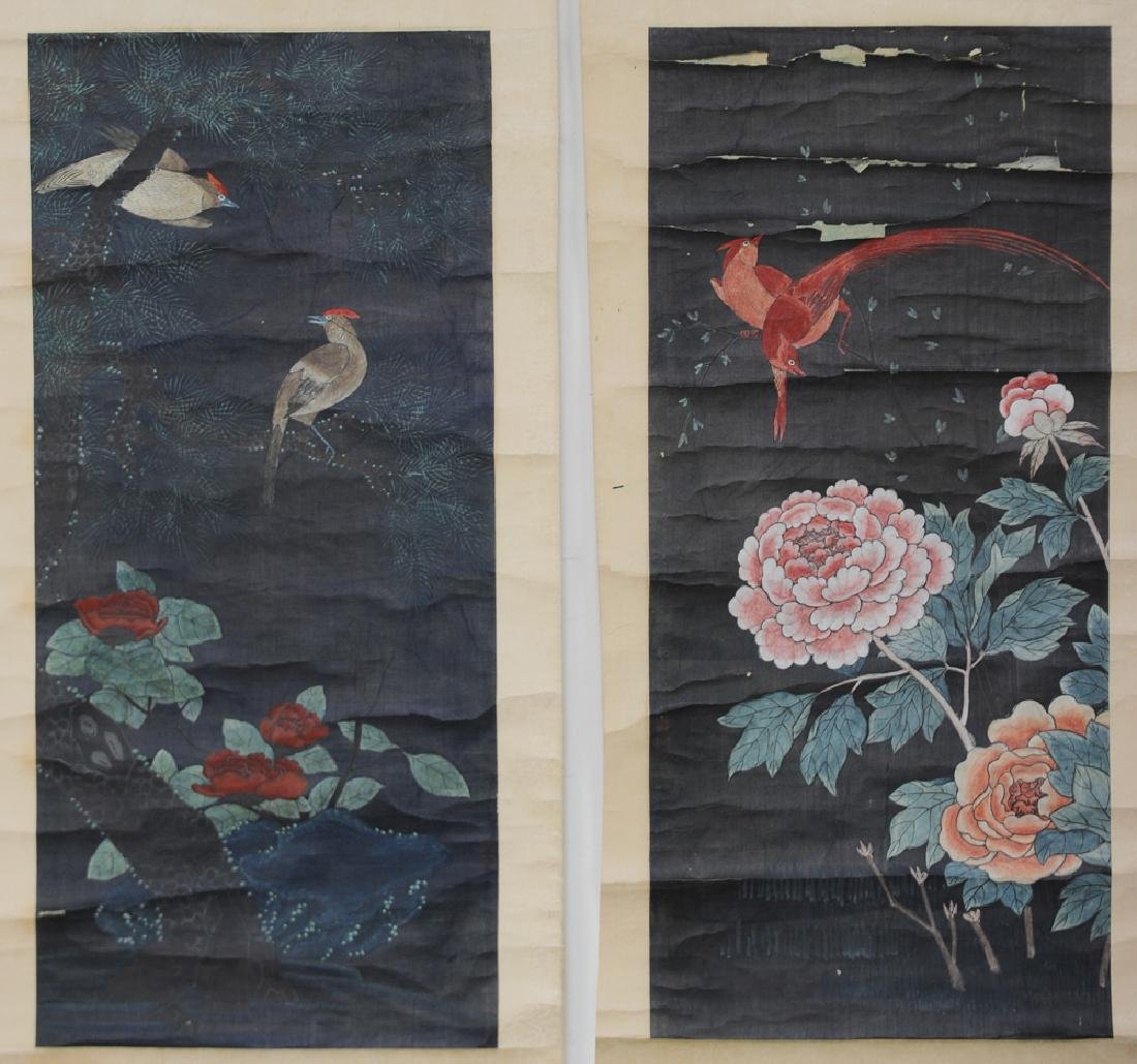 Set of 3 Chinese Paintings w/ Flowers and Birds