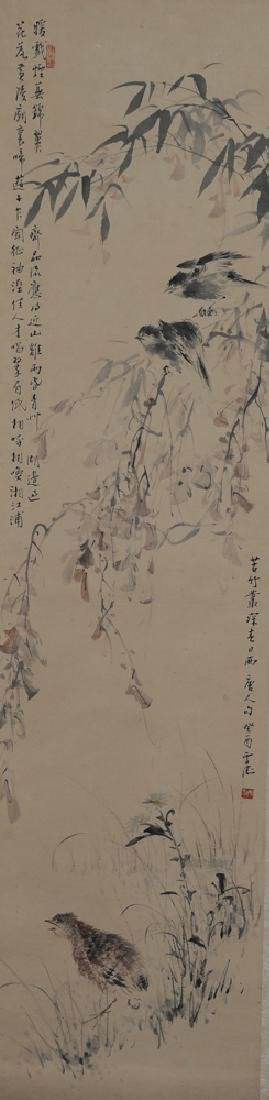 Painting of 3 Birds in a Landscape by Wang Xuetao