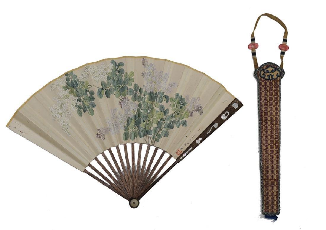 Fan Painted w/ Flowers, Attributed to Zhou Yigui