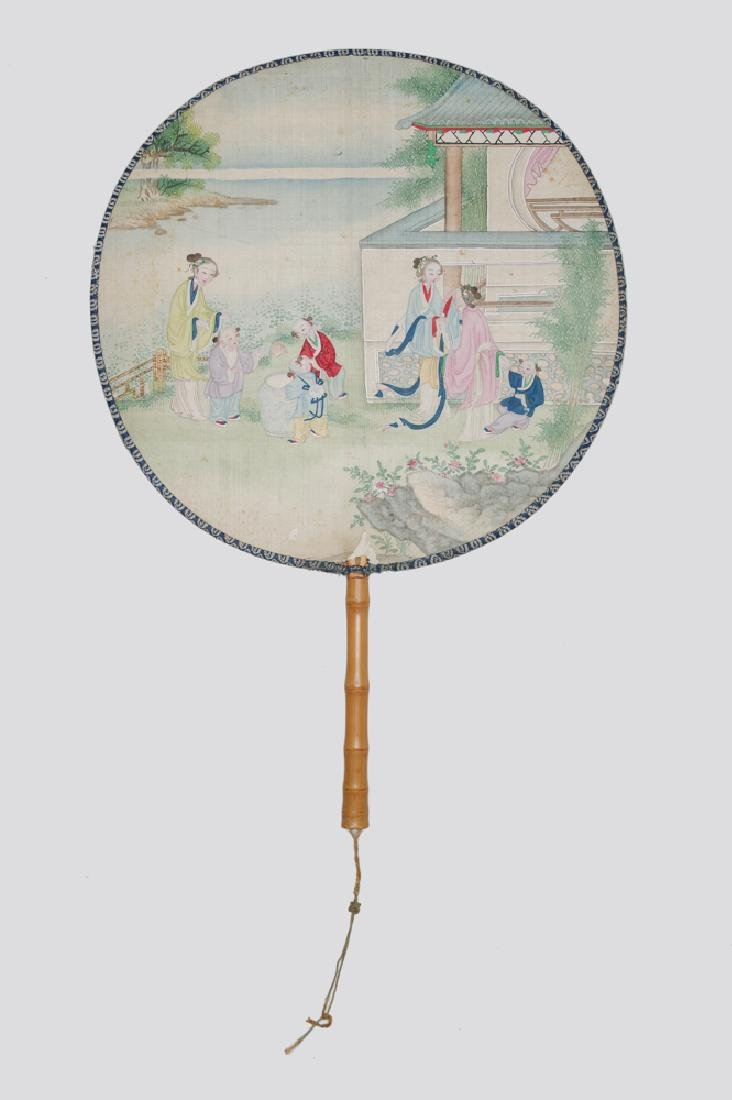 Chiense Silk Fan Painting of Garden Scene, 19th C