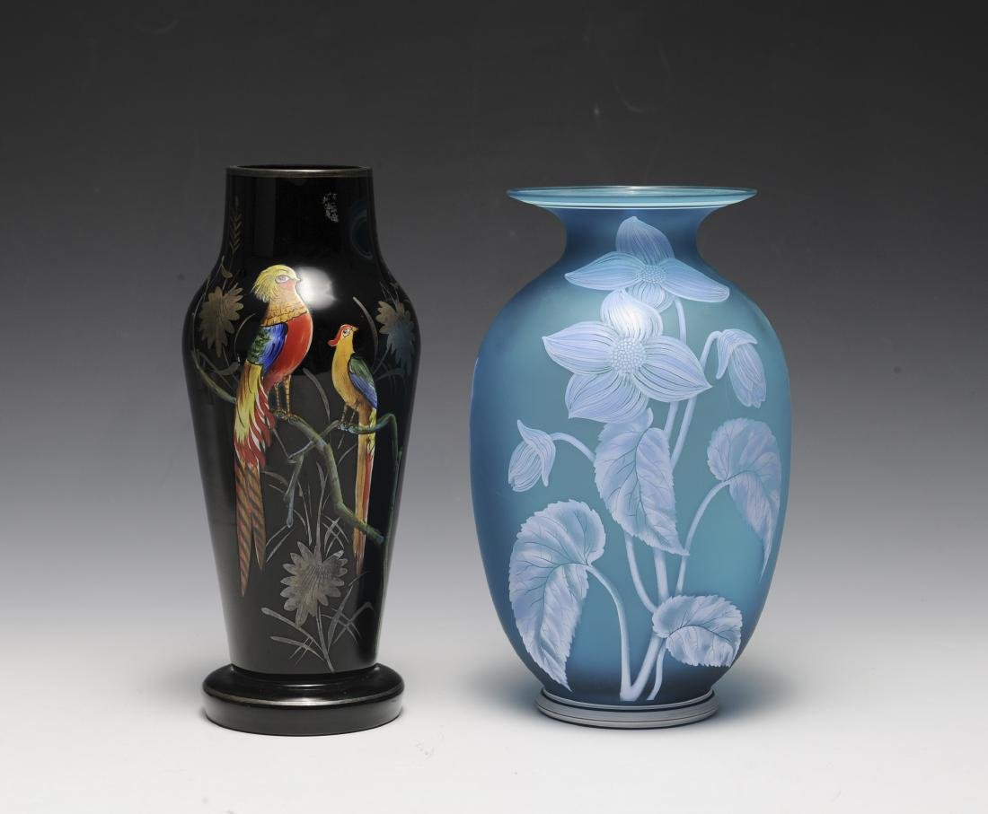 Two 1930s Hand Painted Glass Vases