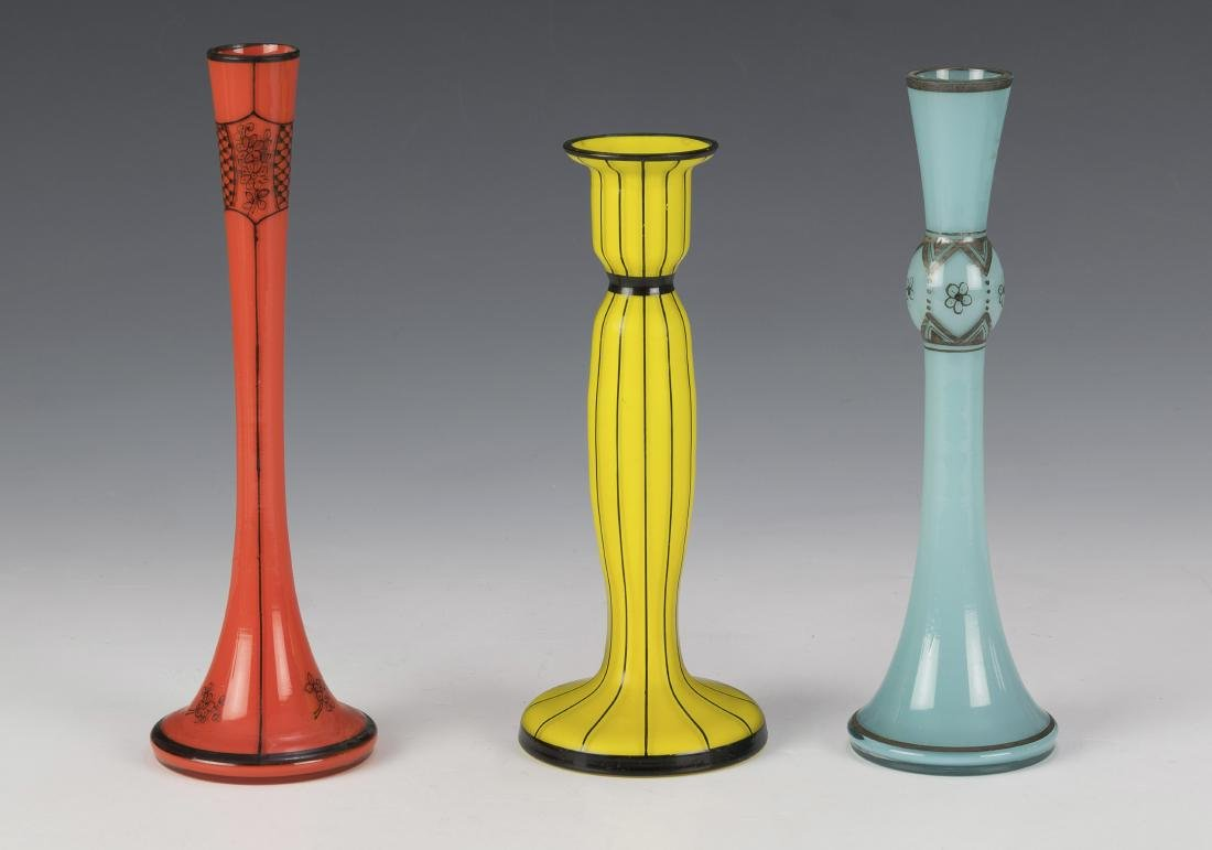 Three Hand Painted Czech Glass Bud Vases