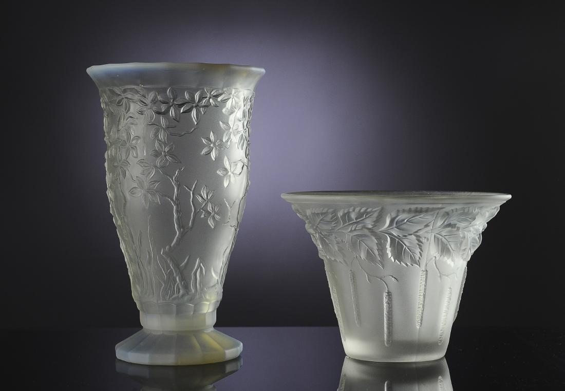 Two Embossed Czech Satin Glass Vases