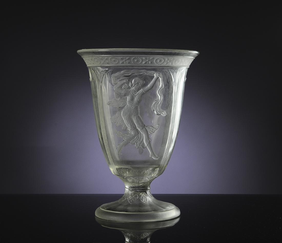 Czech Art Nouveau Glass Vase w/ Semi Nudes