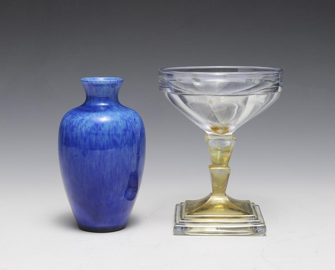 Delvaux Vase & Heisey Champagne