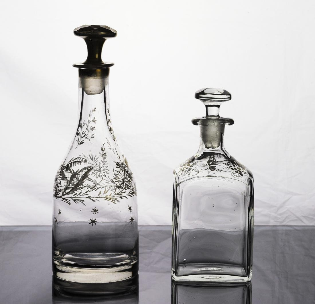Two Hand Blown Gilt Decorated Decanters
