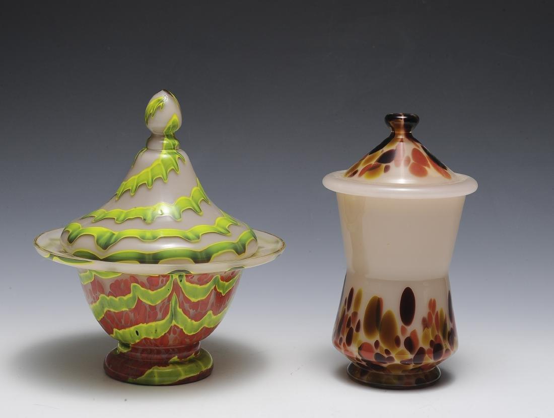 Two Pink Czech Glass Jars