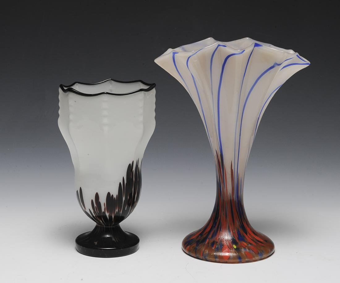 Two Czech Glass Vases