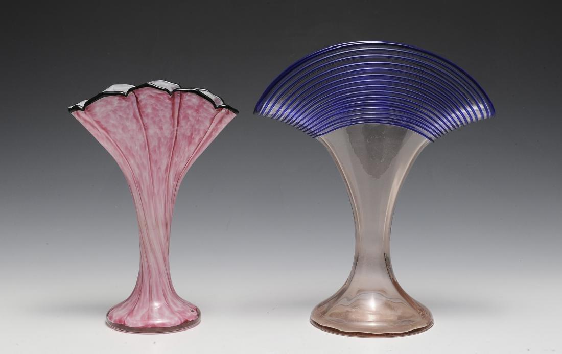 Two Fan-Shaped Czech Glass Vases
