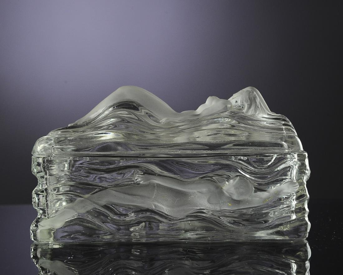 Czechoslovakian Glass Dresser Casket with Nude