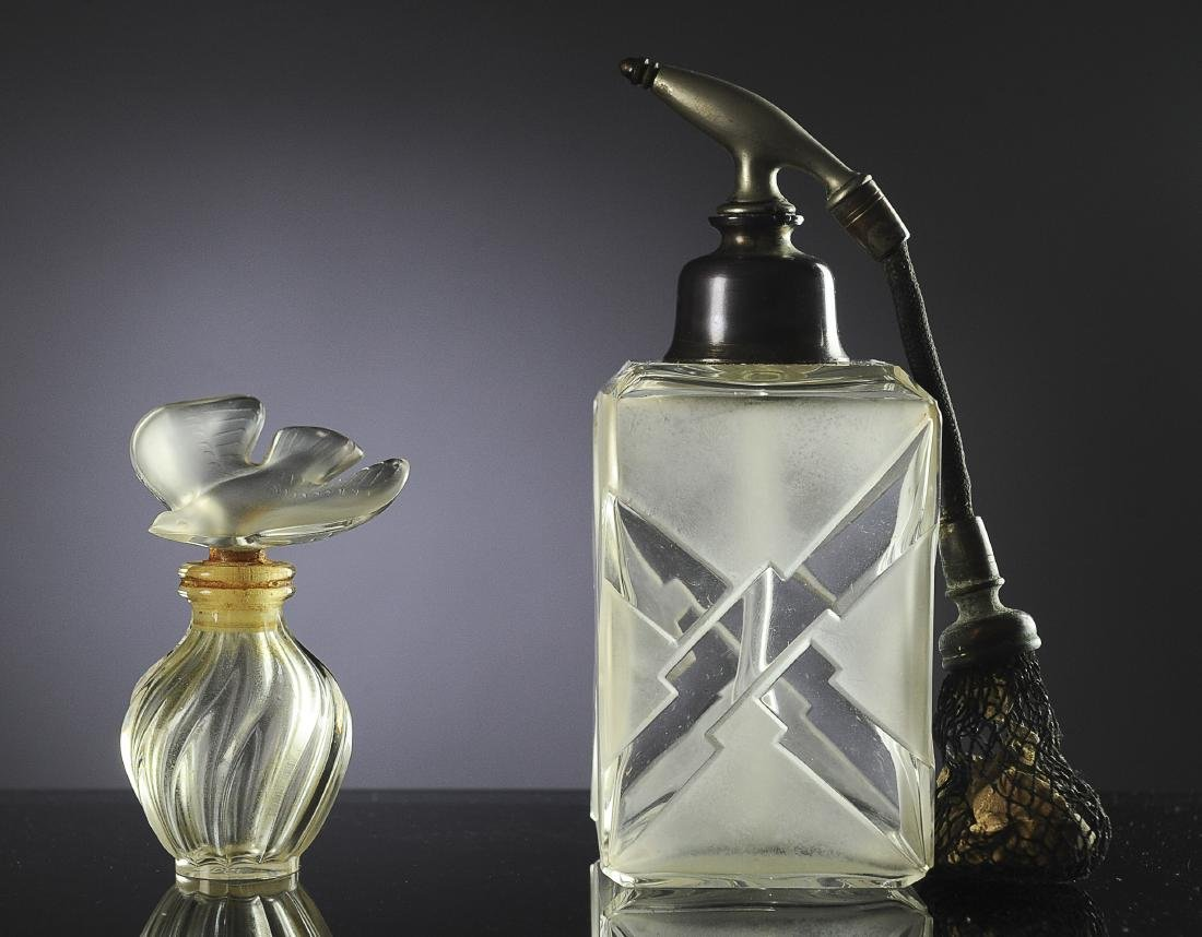 Two French Glass Perfume Bottles Inc. Lalique