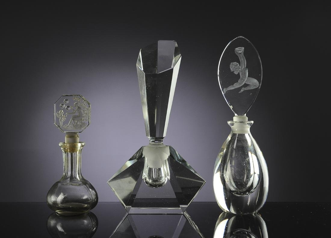 Three Glass Perfume Bottles Inc. Hoffman, Czech