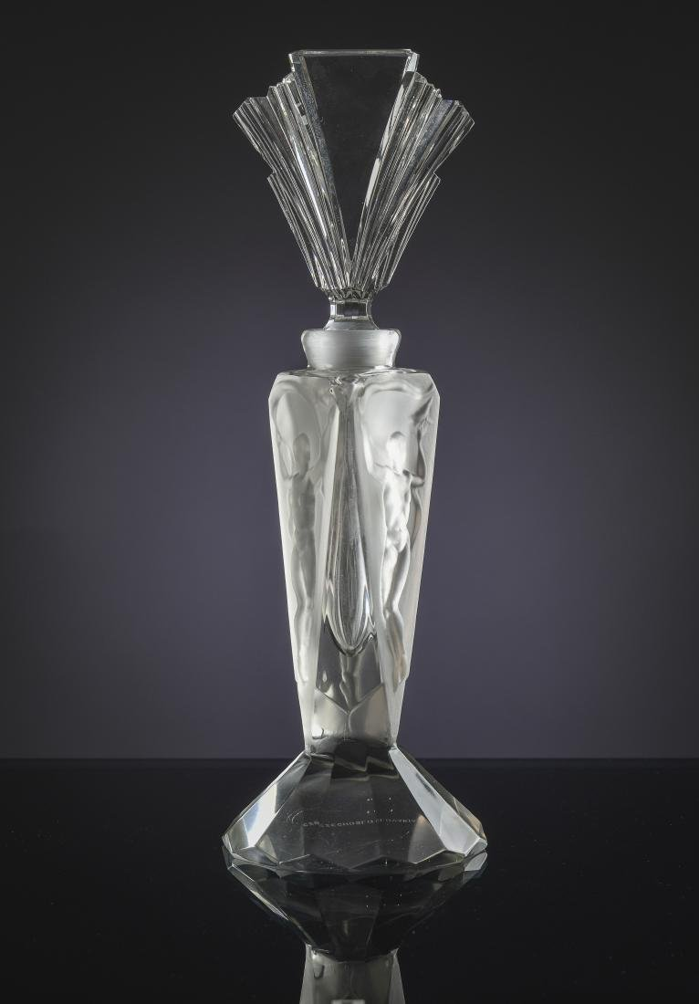 Czech Frosted Glass Perfume Bottle with Nudes