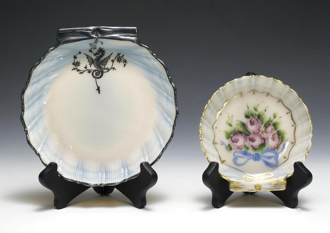 Two Cambridge Glass Seashell Plates