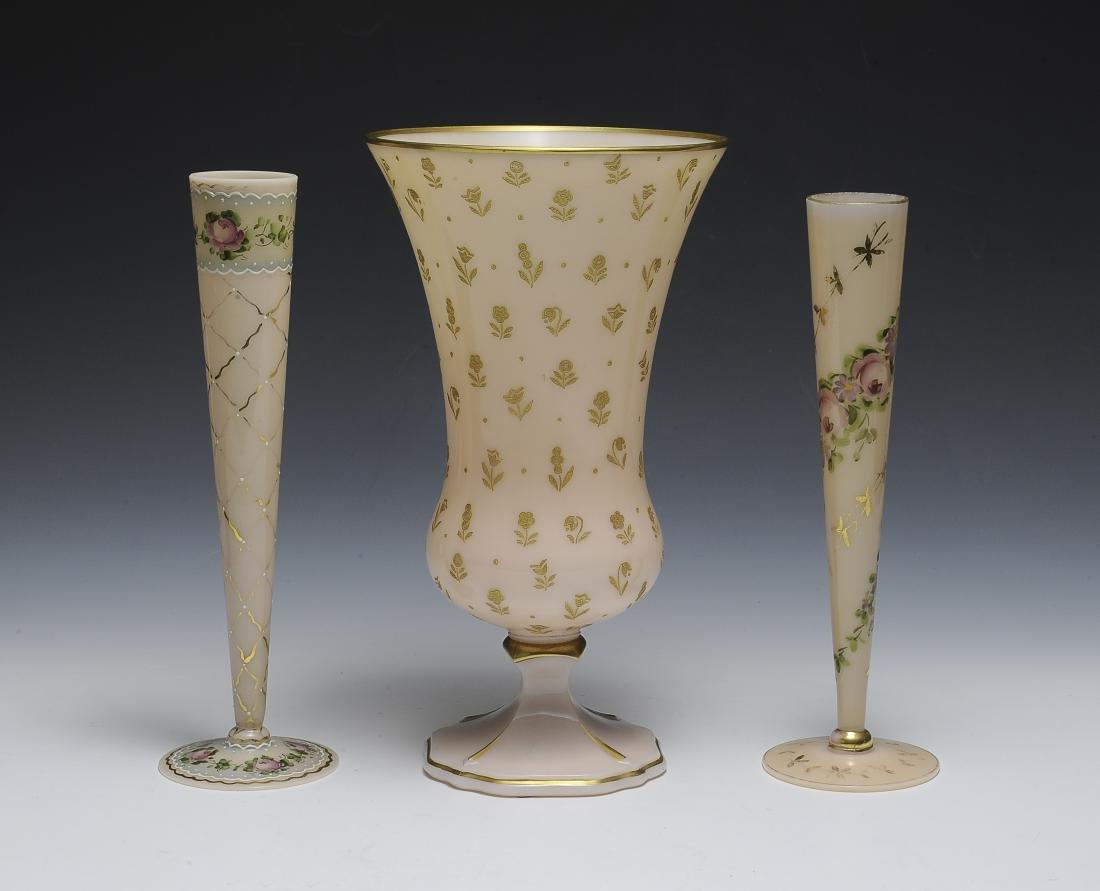 Three Cambridge Glass Vases
