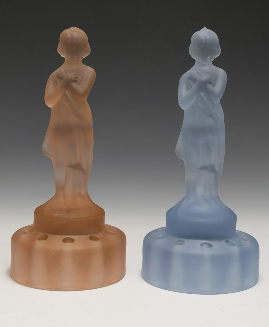 "Two Cambridge Glass ""Draped Lady"" Flower Frogs"