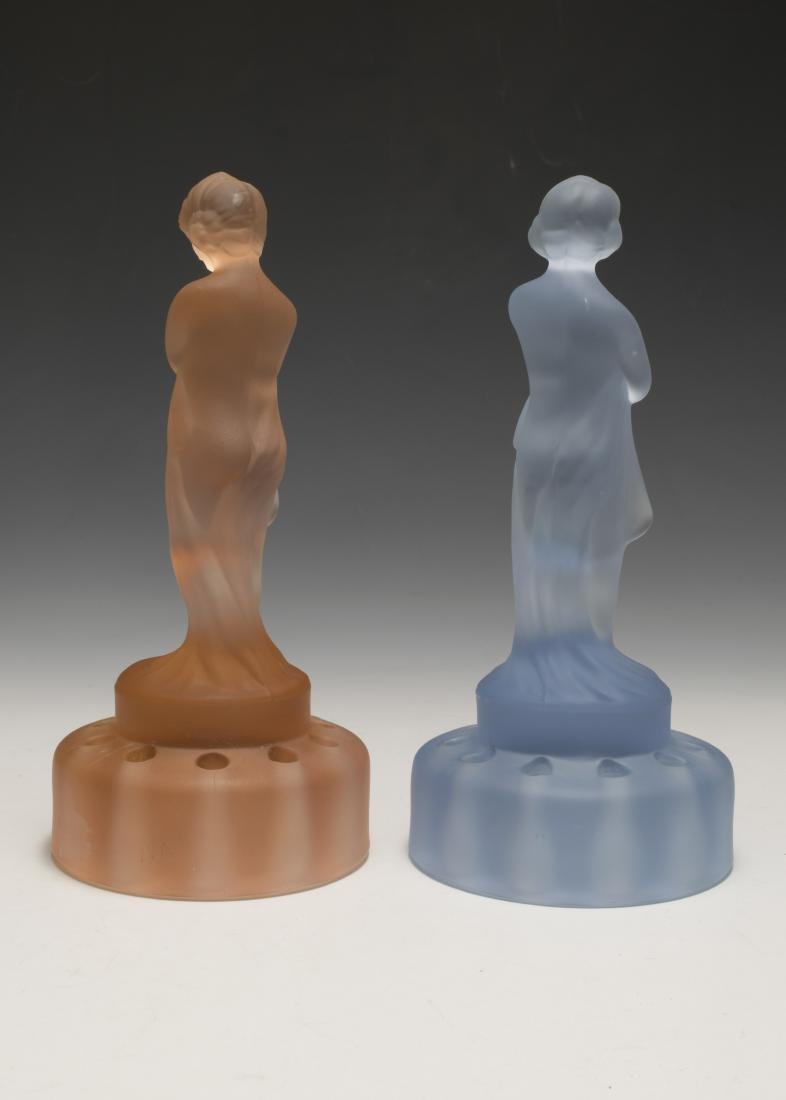 """Two Cambridge Glass """"Draped Lady"""" Flower Frogs - 2"""