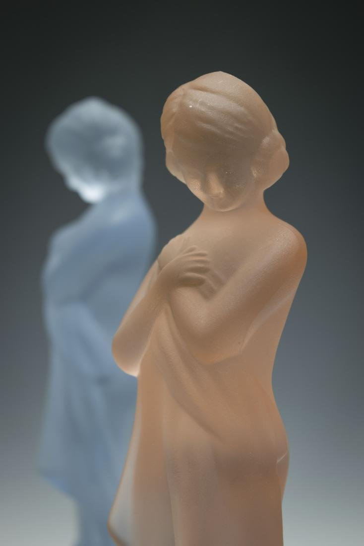 """Two Cambridge Glass """"Draped Lady"""" Flower Frogs - 3"""