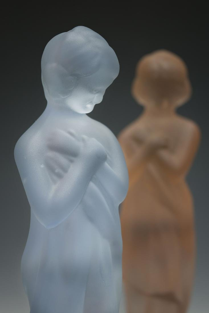 """Two Cambridge Glass """"Draped Lady"""" Flower Frogs - 4"""