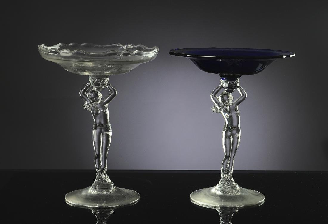Two Cambridge Glass Nude Stem Compotes