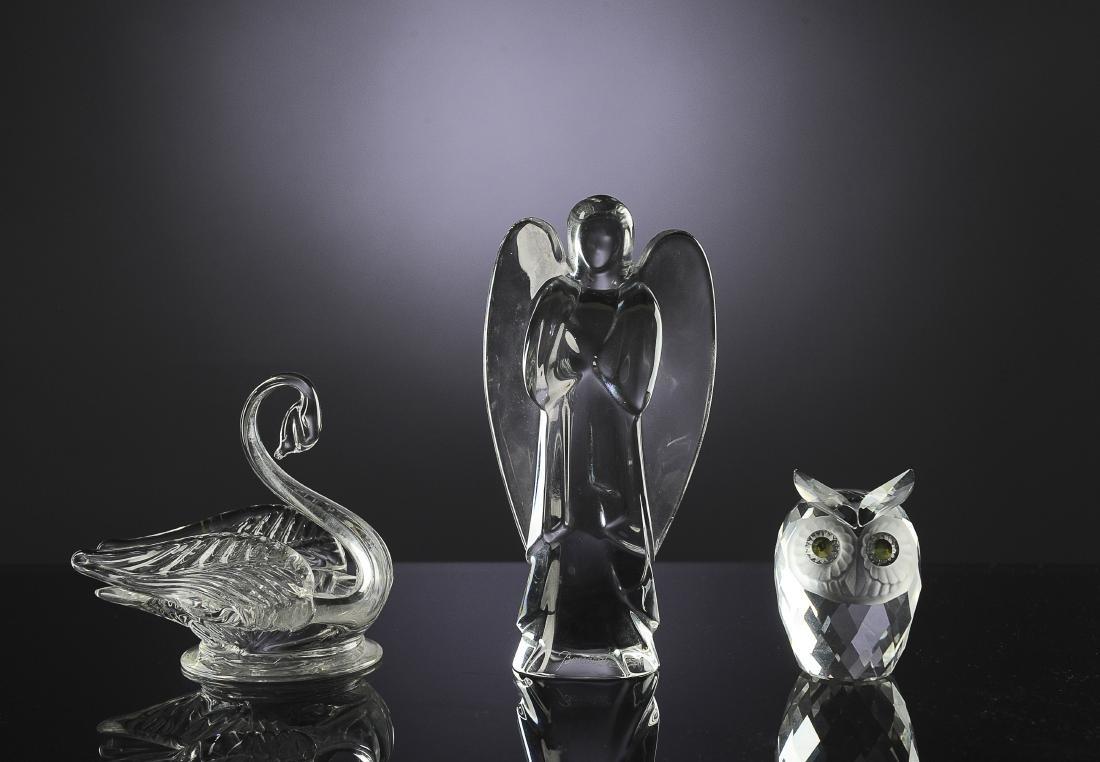 Three Crystal Figurines - Owl, Swan, & Angel