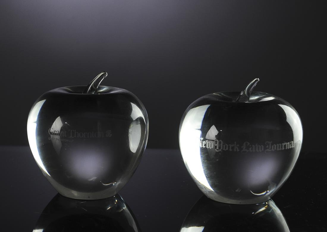 Two Crystal Tiffany and Co. Apple Paperweights