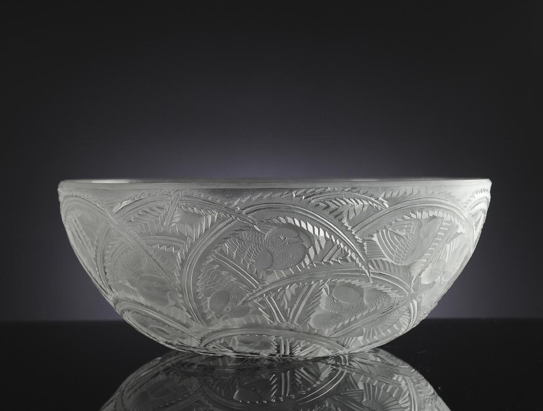 Lalique Pinsons Glass Finch Bowl