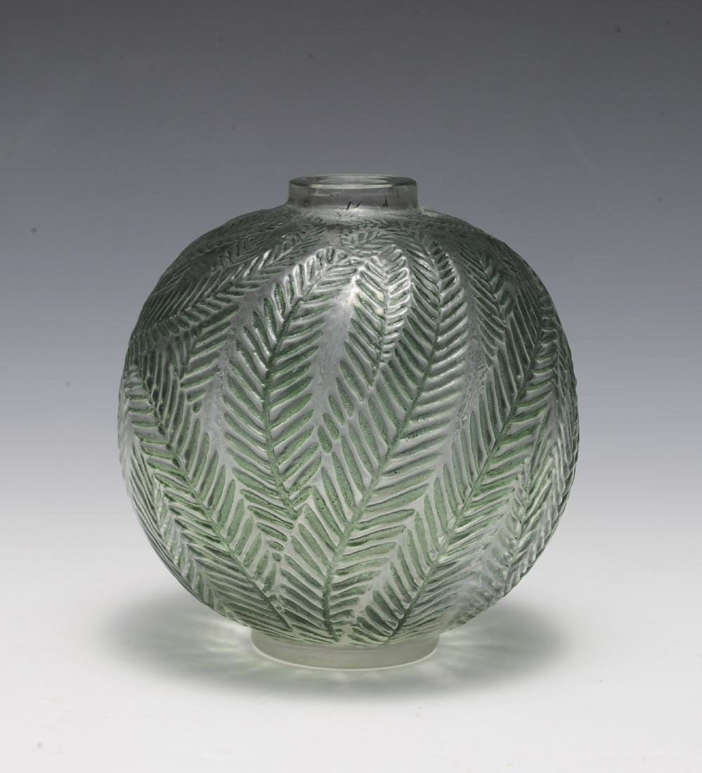 Lalique Molded and Stained Vase with Ferns