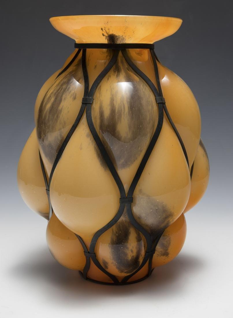 Orange Kralik Glass Vase with Metal Frame