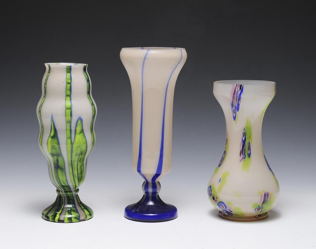 Three Pink Czech Vases