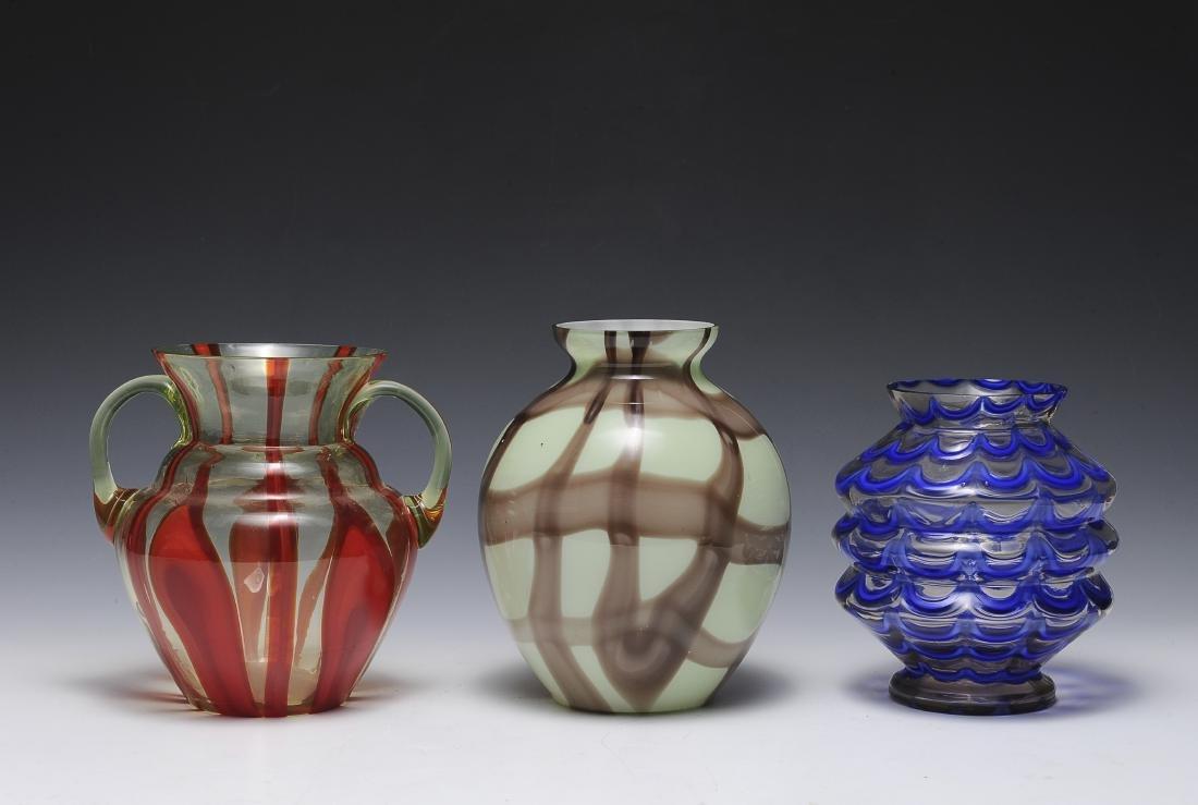 Three Czech Glass Vases