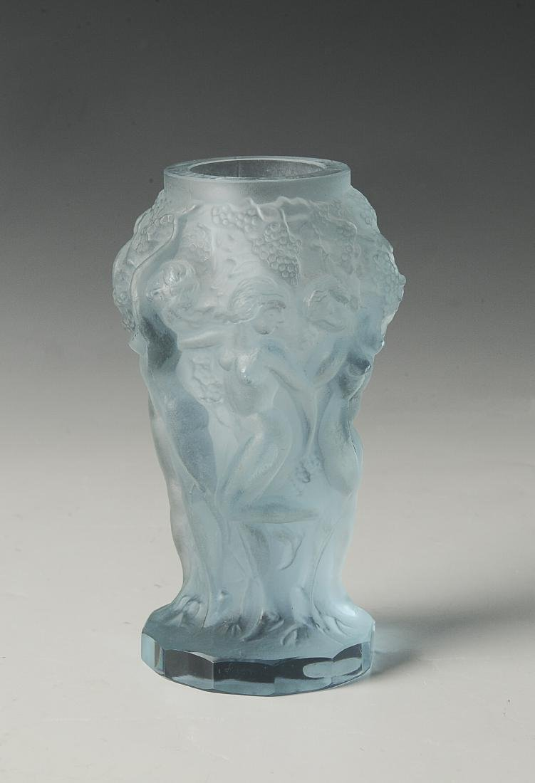 Blue Bohemian Glass Vase with Nudes