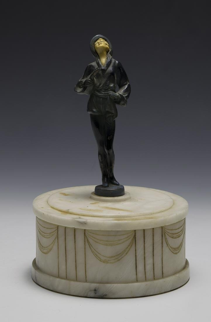 Art Deco Alabaster Powder Box with Spelter Figure