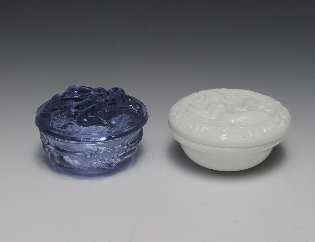 Two Fenton Glass Dresser Jars with Nudes