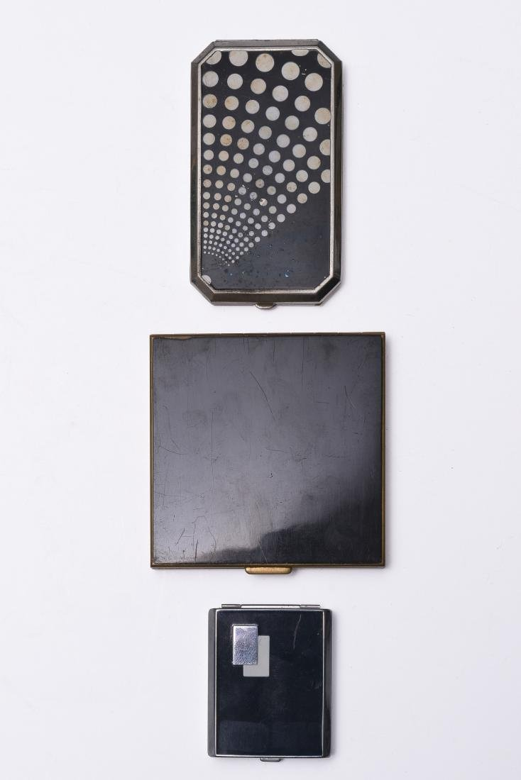 Three Enameled Compact Mirrors
