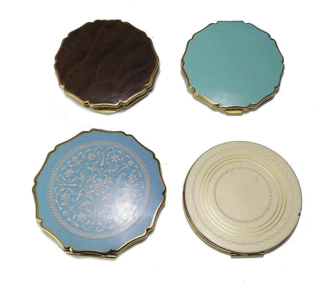 Four Enameled Compact Mirrors