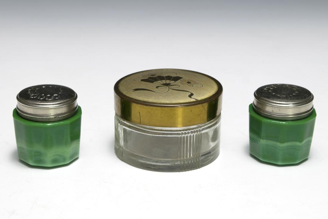 Three Glass Dresser Jars